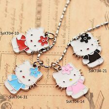 Valentine's Gift Pupil Hello Kitty Enameled Jewelry Gilrs 2CM Pendant Necklace