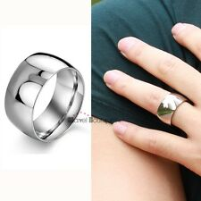 12mm Mens Boys 316L Stainless Steel Band Ring Polished Shiny SIZE 7-13 GJ318