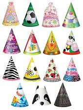 8 PARTY HATS - Range of DESIGNS THEMES (Birthday Supplies & Decorations)