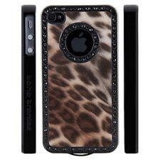Apple iPhone 5 5S Gem Crystal Rhinestone Brown Shimmer Leopard Plastic case