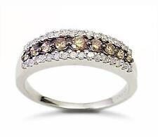 Stunning! 10K White Gold Chocolate Brown & White Diamond Band Ring .50ct