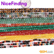 """2,3mm Natural Round Faceted Tiny Gemstone Spacer Seed Beads Jewelry Making 15"""""""