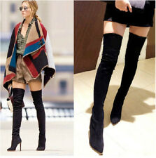 Hot Sxey Fashion Womens Zip Pointed Toe Over Knee Boots Stilettos OL Shoes Plus