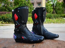PASS Men Leather Harness Black Red Motorcycle Biker Racing Boots Shoes Size 7-12