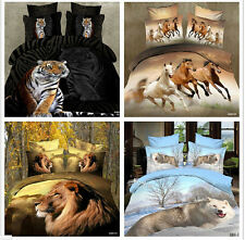tiger wolf lion animal queen size Cotton Quilt / duvet Cover Bed Sets sheet