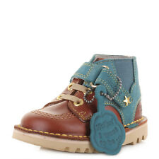 BOYS KICKERS KICK HI BOY INFANT LEATHER BROWN BLUE ANKLE BOOTS SHOES SIZE