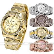 Mens Women Unisex Trendy Geneva Bling Crystal Stainless Steel Quartz Wrist Watch