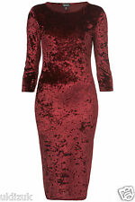 Topshop Burgundy Red Crushed Velvet Stretch Bodycon Midi Dress - Size 8