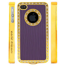 Apple iPhone 5 5S Gem Crystal Rhinestone Purple Raised Lines Wallpaper case
