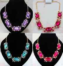 CHUNKY OVAL HOT PINK, TURQUOISE, OR LILAC  FACETED DIAMANTE CRYSTAL  NECKLACE