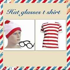 RED & WHITE STRIPED WALLY T SHIRT HAT WALLY PARTY FANCY DRESS costume WHERES NEW