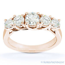 Round Cut Moissanite Anniversary Ring 14k Rose Gold 5-Stone Trellis Wedding Band