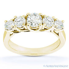 Round Cut Moissanite Anniversary 5-Stone Trellis Wedding Band in 14k Yellow Gold