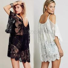 Vintage Hippie Boho People Embroidered Sheer Floral Lace Crochet Sexy Mini Dress