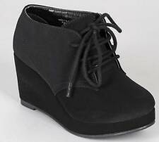NEW Girls Youth SODA FAVOR Black Wedge Fashion Casual Dress Lace-up Bootie Shoes