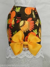 DOG CAT FERRET Travel Harness~THANKSGIVING TURKEY Autumn YELLOW Bow & Lace Trim