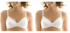 NEW Hanes (2 Pack) Lightly Lined Cotton Wire-Free Bras H449 White 34 38