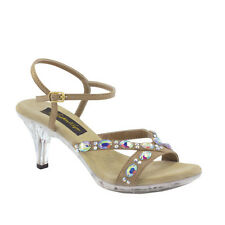 Vienna by Johnathan Kayne Taupe Crystal Clear Heel Shoes (H8R2)