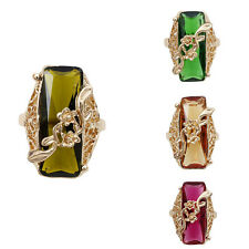 Women 14K Gold Filled Austrian Crystal Size 9 Rectangle Ring Jewelry In 4 Color
