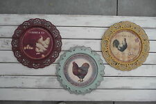 French Country Rooster Coffee Plate Plaque Metal Lace  Tuscan Red Yellow or Teal