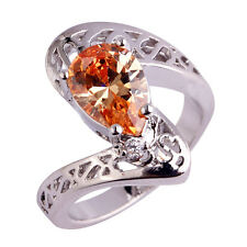 Free Shipping New Jewelry Pear Cut Morganite Gemstone Silver Ring Size 6 7 8 9