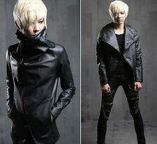 New Mens Cool Zip Up Faux Leather Slim Fit Casual Motorcycle Jacket Coat Black