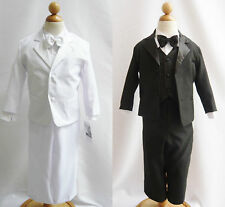 Infant toddler teen Boy black white tuxedo communion wedding party formal suit