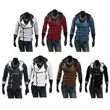 Mens Assassin  style Casual Hoodie Jacket Inclined Zipper Costume Coats Cosplay