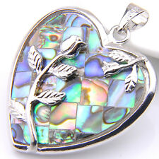 With Flower Classic Natural Abalone Shell Gems Sterling Silver Plated Pendant