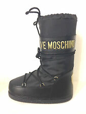 SCARPE DONNA MOON BOOT LOVE MOSCHINO NERO ORO  D15MO02