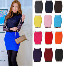 Women's Sexy A-Line Candy Color Elastic High Stretchy Waist Slim Seamless Skirt