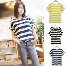 Lady Striped Chiffon Blouse Sheer Tops Casual Batwing Short Sleeve Loose T-Shirt