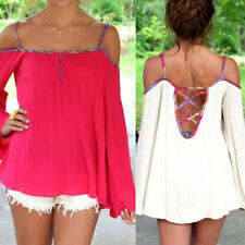 Loose Sexy Off The Shoulder Long Sleeve Chiffon Casual T-Shirt Tops Blouse