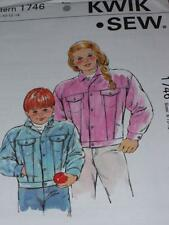 KWIK SEW #1745 - GIRLS or BOYS LONG SLEEVE DENIM or JEAN JACKET PATTERN 4-14