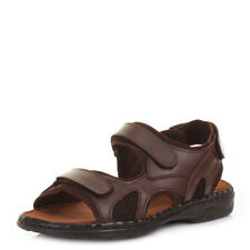 MENS VELCRO REAL LEATHER OUTDOOR BEACH SUMMER COMFORT SANDALS SHOES SIZE 6-12