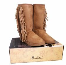 Montana West Boots Womens Western Fringe Collection Winter Shoes Lacing Brown