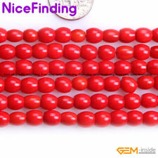 """7x6mm Column Red Coral Stone Beads For Jewelry Making Loose Beads Strand 15"""" DIY"""