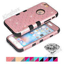 Heavy Duty Silicone + Bling Diamond Hard Matte PC Shockproof Case for iPhone 5C