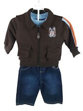 NEW U.S. POLO ASSN  Baby Boy's 3PC  Outfit Jacket Long Sleeve T-Shirt & Jeans