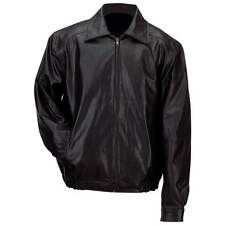 Gianni Collani  Men's Solid Genuine Black Leather Bomber-Style Jacket MED - 3XL