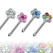 Lot of 4 Surgical Steel Flower Gem Nose Studs Rings Wholesale Piercing Jewelry