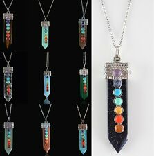 Fashion Natural Gemstone Chakra Healing Carved Sword Shape Pendant Necklace