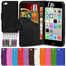 Flip Wallet Leather Case Cover For Apple iPhone 5C FREE Screen Protector