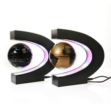 C shape Decoration Magnetic Levitation Floating World Map Globe w LED Light Lamp
