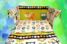 Owl Cot Bedding Set Lime Green Blue Fox Tree Forest - Unisex HANDMADE