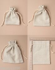 PACK OF 12 NATURAL IVORY LINEN DRAWSTRING BAG, POUCH, GIFT, JEWELLERY, WHOLESALE