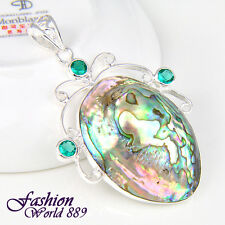 Unique Party Ornament Natural Abalone Shell Gems Sterling Silver Plated Pendant