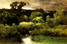 A GRAY LOWERY DAY NATURE AMERICAN LANDSCAPE PAINTING BY GEORGE INNESS REPRO