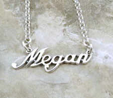 Sterling Silver Name Necklace-Megan- on Rolo Chain Necklace Your Length -2006