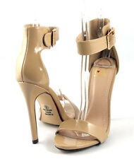 Beige Patent Hot Trend Single Strap Heel Sandals Shoes Closed Back Ankle Strap